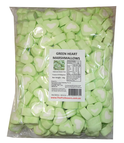 Sweet Treats Heart Shaped Marshmallows - Green and White, by Brisbane Bulk Supplies,  and more Confectionery at The Professors Online Lolly Shop. (Image Number :8200)