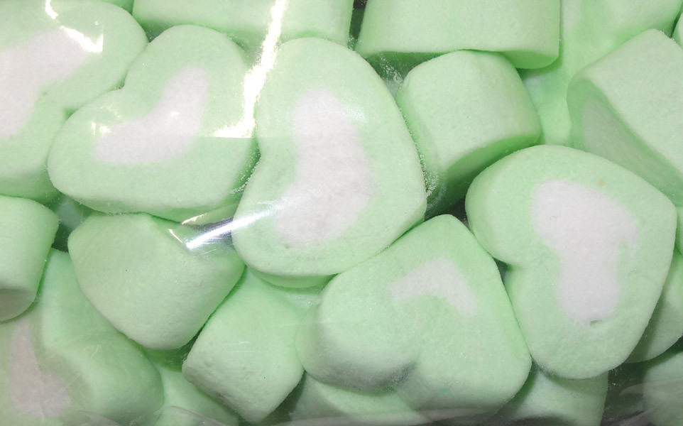 Sweet Treats Heart Shaped Marshmallows - Green and White, by Brisbane Bulk Supplies,  and more Confectionery at The Professors Online Lolly Shop. (Image Number :8201)