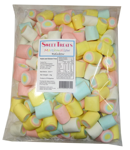 Sweet Treats Marshmallows - Rainbow, by Brisbane Bulk Supplies,  and more Confectionery at The Professors Online Lolly Shop. (Image Number :8198)