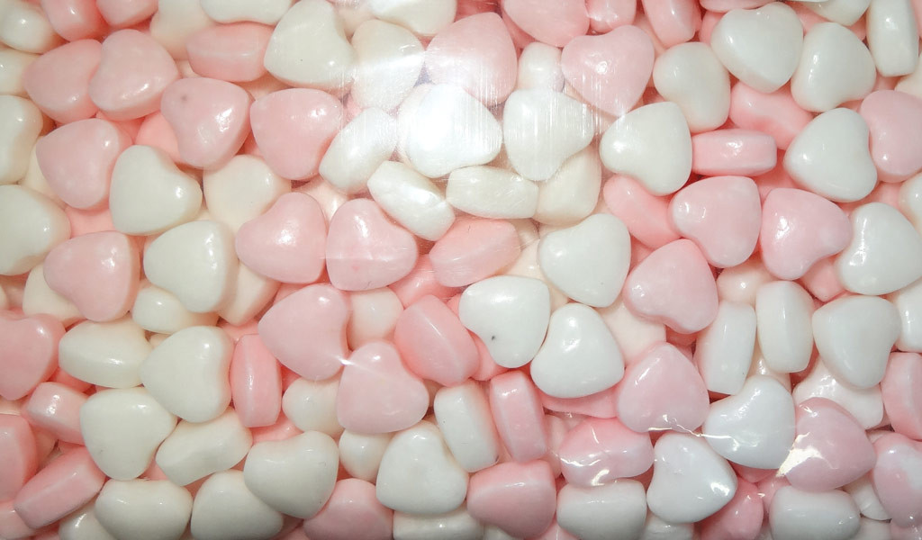 Compressed Candy - Pink and White Hearts, by AIT Confectionery,  and more Confectionery at The Professors Online Lolly Shop. (Image Number :8154)