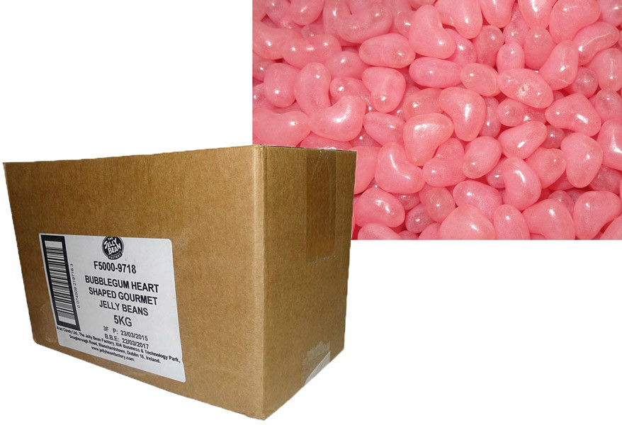 Love Heart Shaped Gourmet Jelly Beans - Pink - Bubblegum Flavoured, by Other,  and more Confectionery at The Professors Online Lolly Shop. (Image Number :9920)