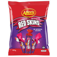 Allens Red Skins Sticks, by Allens Confectionery,  and more Confectionery at The Professors Online Lolly Shop. (Image Number :8128)