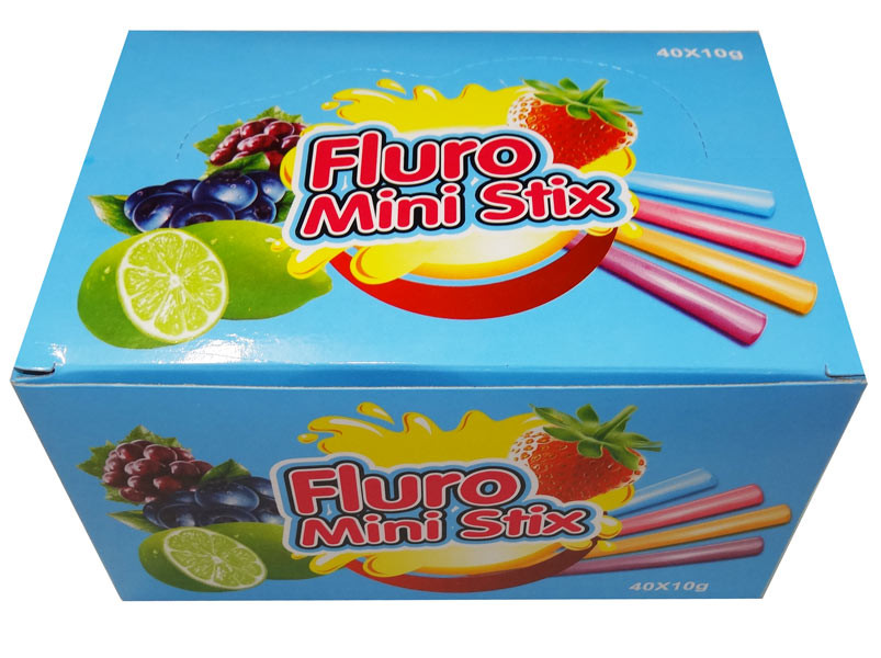 Fluro Mini Stix, by AIT Confectionery,  and more Confectionery at The Professors Online Lolly Shop. (Image Number :8383)