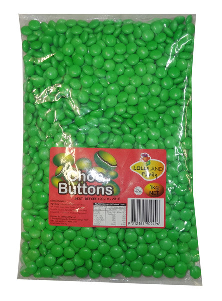 Lolliland Choc Buttons - Green, by Lolliland,  and more Confectionery at The Professors Online Lolly Shop. (Image Number :8674)