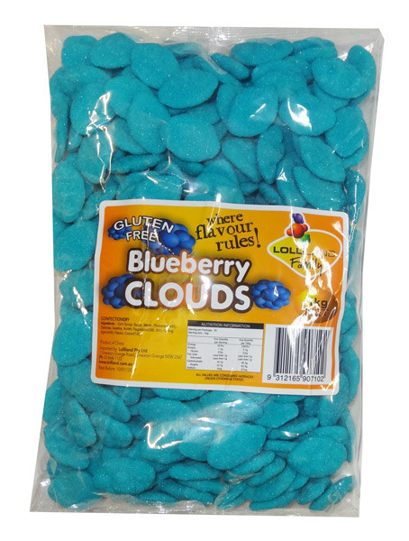 Lolliland Clouds - Blue - Blueberry Flavour, by Lolliland,  and more Confectionery at The Professors Online Lolly Shop. (Image Number :8670)