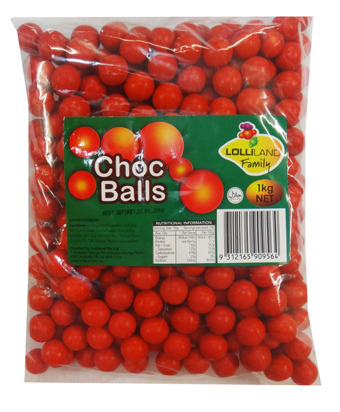 Lolliland Choc Balls - Red, by Lolliland,  and more Confectionery at The Professors Online Lolly Shop. (Image Number :8635)