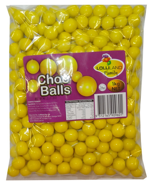 Lolliland Choc Balls - Yellow, by Lolliland,  and more Confectionery at The Professors Online Lolly Shop. (Image Number :8631)