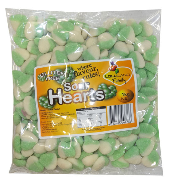 Lolliland Sour Hearts - Green and White, by Lolliland,  and more Confectionery at The Professors Online Lolly Shop. (Image Number :8645)