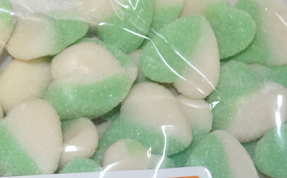 Lolliland Sour Hearts - Green and White, by Lolliland,  and more Confectionery at The Professors Online Lolly Shop. (Image Number :8646)