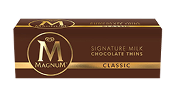 Magnum Thins - Classic Milk Chocolate, by Magnum,  and more Confectionery at The Professors Online Lolly Shop. (Image Number :8552)