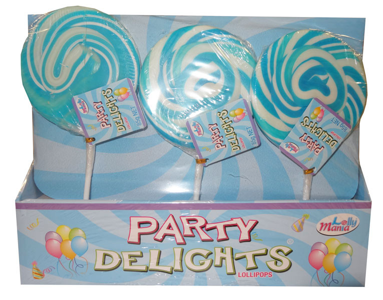 Lolly Mania Party Delights Lollipops - Blue - Blueberry Flavour, by Lolly Mania,  and more Confectionery at The Professors Online Lolly Shop. (Image Number :9062)