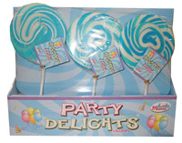 Lolly Mania Party Delights Lollipops - Blue - Blueberry Flavour (24 x 85g)