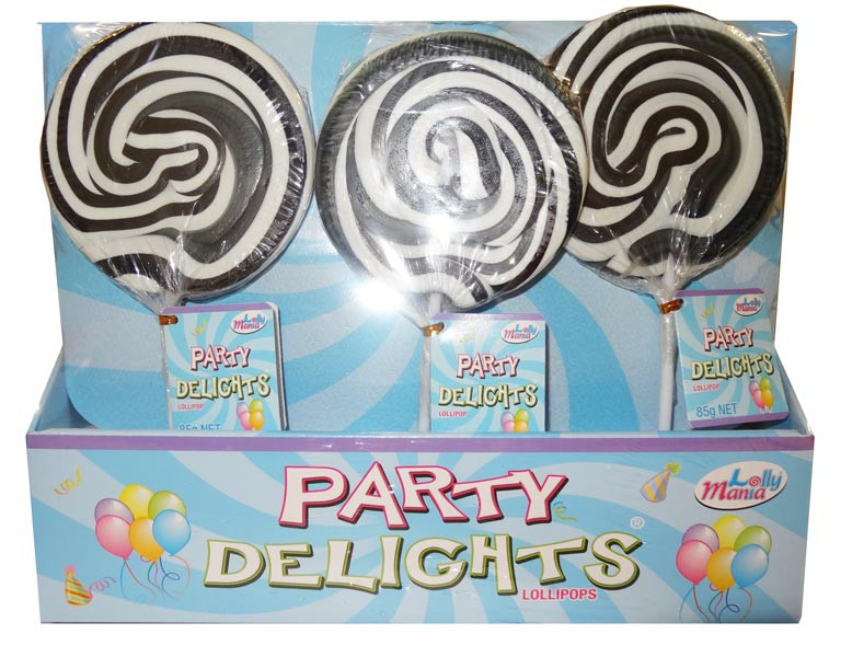Lolly Mania Party Delights Lollipops - Black - Blackcurrant Flavour, by Lolly Mania,  and more Confectionery at The Professors Online Lolly Shop. (Image Number :9061)