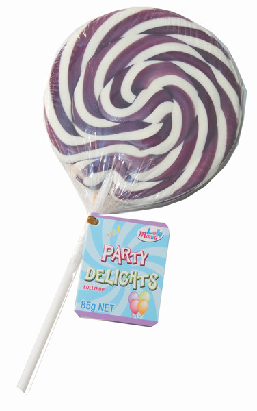 Lolly Mania Party Delights Lollipops - Purple - Grape Flavour, by Lolly Mania,  and more Confectionery at The Professors Online Lolly Shop. (Image Number :8698)