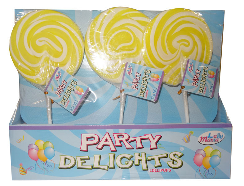 Lolly Mania Party Delights Lollipops - Yellow - Pineapple Flavour, by Lolly Mania,  and more Confectionery at The Professors Online Lolly Shop. (Image Number :9059)