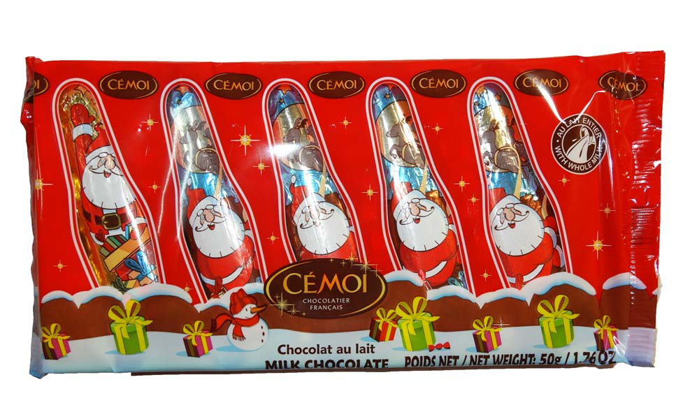 Santa Claus Cello Pack - Solid Choc Figure, by Cemoi,  and more Confectionery at The Professors Online Lolly Shop. (Image Number :8705)