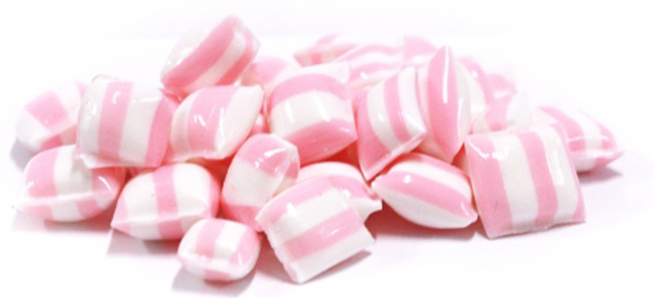 Rock Candy Pillows - Light Pink with a Strawberry and Cream Flavour, by Designer Candy,  and more Confectionery at The Professors Online Lolly Shop. (Image Number :9095)
