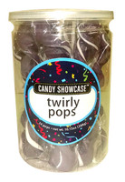 Candy Showcase Twirly Pops - Purple and White (24 x 12g pops in a tub)