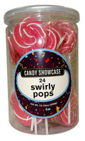 Candy Showcase Swirly Pops - Pink and White (24 x 12g pops in a tub)