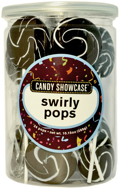 Candy Showcase Swirly Pops - Black and White, by Lolliland,  and more Confectionery at The Professors Online Lolly Shop. (Image Number :8973)