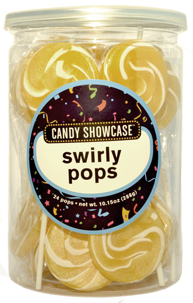 Candy Showcase Swirly Pops - Gold and White, by Lolliland,  and more Confectionery at The Professors Online Lolly Shop. (Image Number :8970)