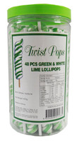 Twist Pops - Green and White, by Brisbane Bulk Supplies,  and more Confectionery at The Professors Online Lolly Shop. (Image Number :8949)
