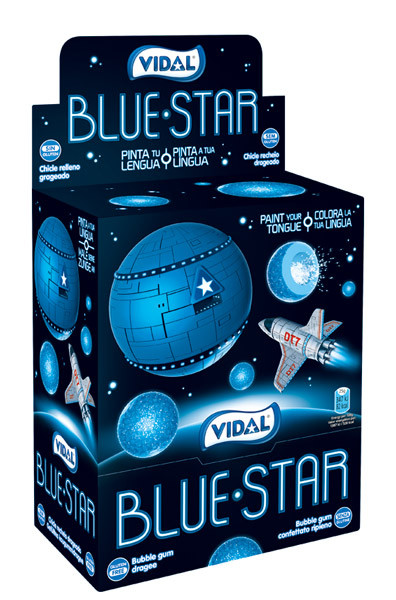 Vidal Blue Star Bubble Gum, by vidal,  and more Confectionery at The Professors Online Lolly Shop. (Image Number :8921)