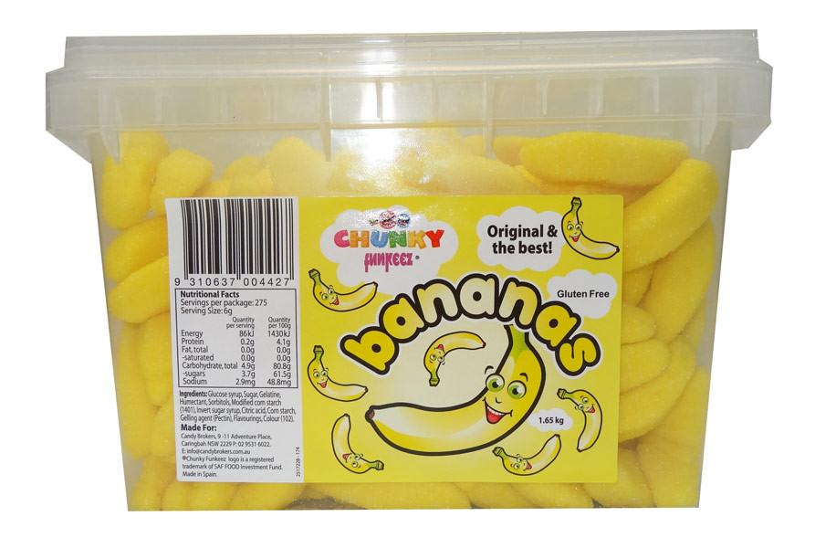 Chunky Funkeez Bananas, by Candy Brokers,  and more Confectionery at The Professors Online Lolly Shop. (Image Number :9532)