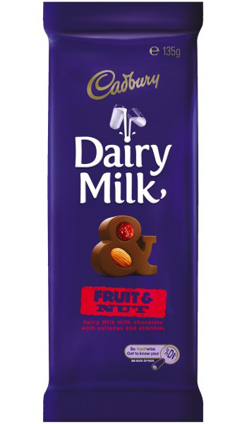 Cadbury Dairy Milk Fruit and Nut Small Blocks, by Cadbury,  and more Confectionery at The Professors Online Lolly Shop. (Image Number :9283)