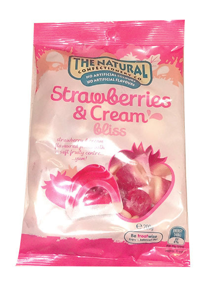The Natural Confectionery Co. - Strawberries and Cream Bliss, by The Natural Confectionery Co.,  and more Confectionery at The Professors Online Lolly Shop. (Image Number :9952)
