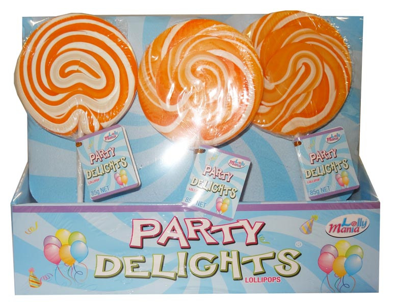 Lolly Mania Party Delights Lollipops - Orange - Orange Flavour, by Lolly Mania/Other,  and more Confectionery at The Professors Online Lolly Shop. (Image Number :9057)
