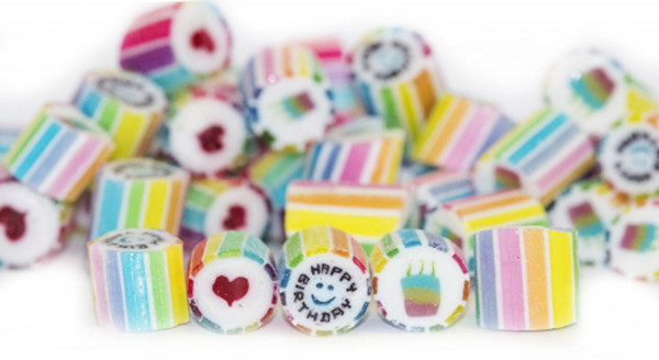 """Rock Candy - Rainbow - """"Happy Birthday"""" Center, by Designer Candy,  and more Confectionery at The Professors Online Lolly Shop. (Image Number :9171)"""