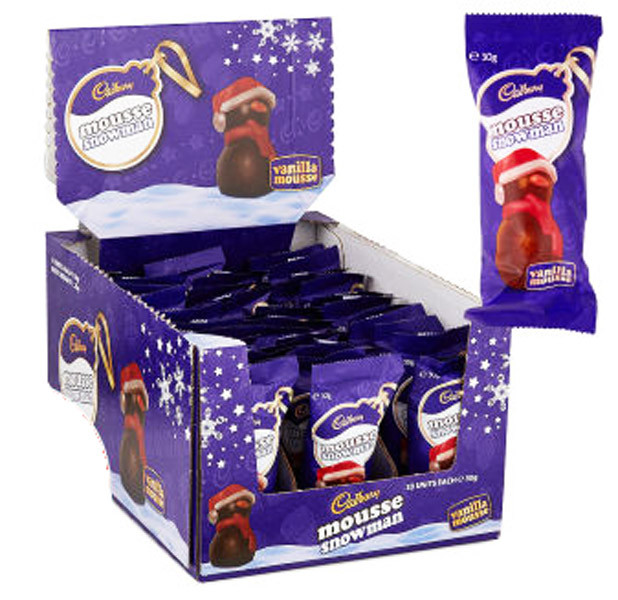 Cadbury Vanilla Mousse Snowman, by Cadbury,  and more Confectionery at The Professors Online Lolly Shop. (Image Number :9425)