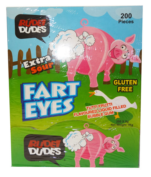 Rude Dudes - Fart Eye - Extra Sour Bubble Gum, by AIT Confectionery,  and more Confectionery at The Professors Online Lolly Shop. (Image Number :9529)