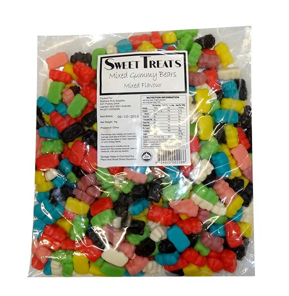 Sweet Treats  Gummy Bears - Assorted Colours, by Brisbane Bulk Supplies,  and more Confectionery at The Professors Online Lolly Shop. (Image Number :9729)