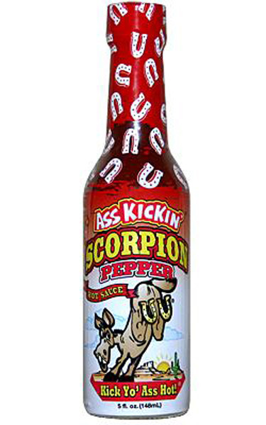 Ass Kickin  Scorpion Pepper Hot Sauce, by Southwest Specialty Food Inc,  and more Snack Foods at The Professors Online Lolly Shop. (Image Number :9800)