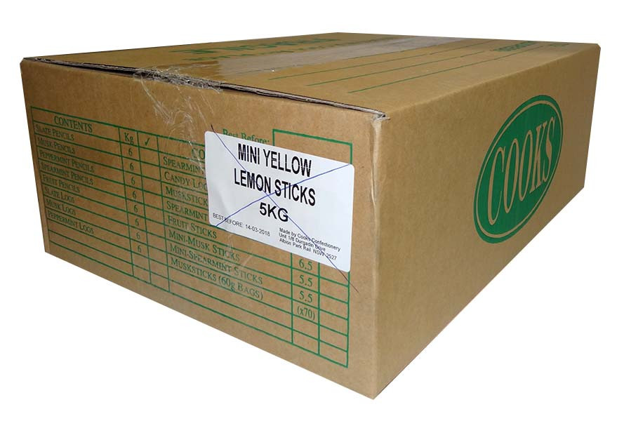 Premium Mini Fruit Sticks Bulk - Yellow with a Lemon Flavour, by Cooks Confectionery,  and more Confectionery at The Professors Online Lolly Shop. (Image Number :9895)