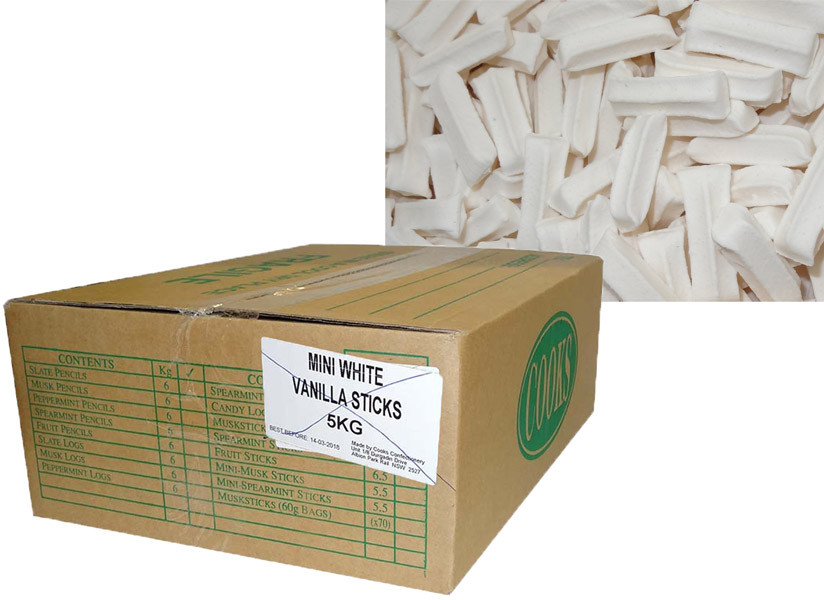Premium Mini Fruit Sticks Bulk - White with a Vanilla Flavour, by Cooks Confectionery,  and more Confectionery at The Professors Online Lolly Shop. (Image Number :9897)