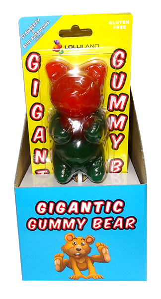 Gigantic Gummy Bear Lollipops - Display Box, by Lolliland,  and more Confectionery at The Professors Online Lolly Shop. (Image Number :9958)