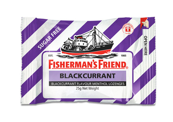 Fishermans Friend - Strong Blackcurrant and Menthol Sugar Free, by Lofthouse,  and more Confectionery at The Professors Online Lolly Shop. (Image Number :9872)