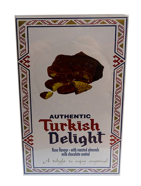 Turkish Delight - Rose Flavour with Almond coated in Milk Chocolate, by Real Turkish Delight Co,  and more Confectionery at The Professors Online Lolly Shop. (Image Number :10018)