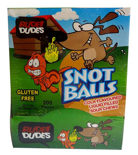 Rude Dudes - Snot Balls - Liquid Filled Sour Chews, by AIT Confectionery,  and more Confectionery at The Professors Online Lolly Shop. (Image Number :10097)