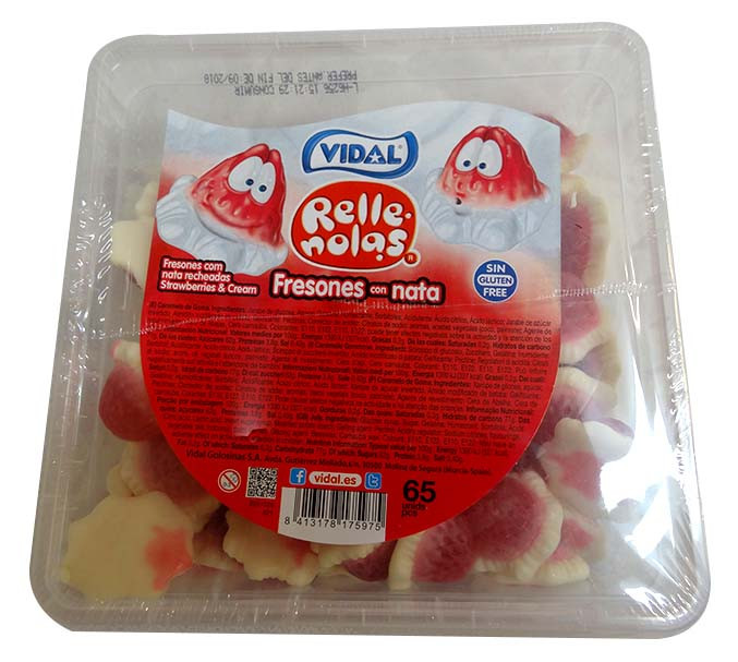 Vidal Jelly Filled Strawberries and Cream at The Professors Online Lolly Shop. (Image Number :10077)