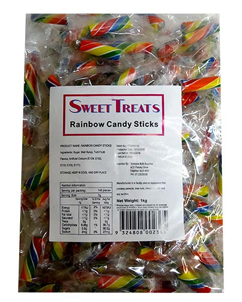 Sweet Treats Rock Candy Sticks - Rainbow, by Brisbane Bulk Supplies,  and more Confectionery at The Professors Online Lolly Shop. (Image Number :10090)