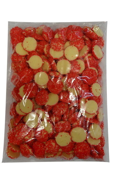*Short Date Special* Custom Choc - White Choc Jewels with Red Speckles, by Custom Choc,  and more Confectionery at The Professors Online Lolly Shop. (Image Number :10064)