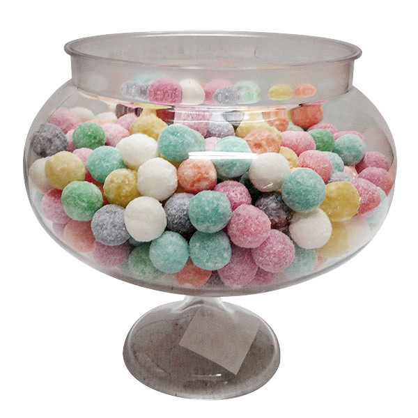 Short Round Pedestal Clear Plastic Candy Buffet Jar and more Partyware at The Professors Online Lolly Shop. (Image Number :10107)