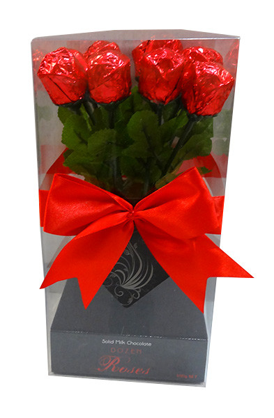 Mini Dozen Solid Milk Chocolate Roses and more Confectionery at The Professors Online Lolly Shop. (Image Number :10143)