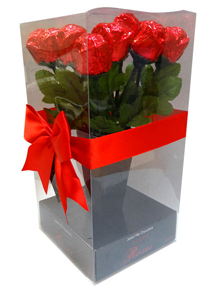 Mini Dozen Solid Milk Chocolate Roses and more Confectionery at The Professors Online Lolly Shop. (Image Number :10144)