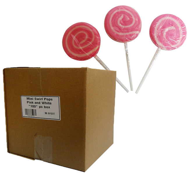 Mini Swirl Pops - Pink and White and more Confectionery at The Professors Online Lolly Shop. (Image Number :10163)