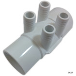 "Waterway | MANIFOLD | 4-PORT FLO-THRU 2"" SLIP X 2"" SPIGOT X 3/4"" RIBBED BARB 